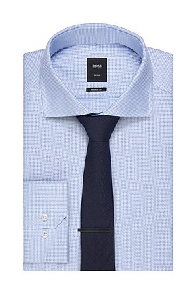 Hugo Boss T-Stenson' | Regular Fit, Italian Cotton Dress Shirt, Light Blue