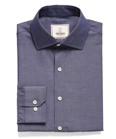 Spread Collar Denim Dress Shirt
