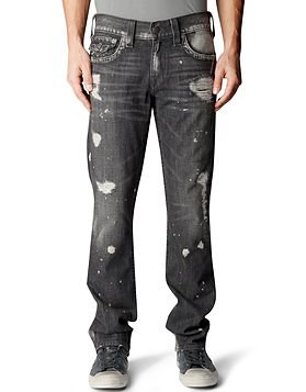 True Religion ricky straight grey shade mens jean