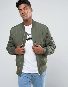 Bomber Jacket with MA1 Pocket in Khaki