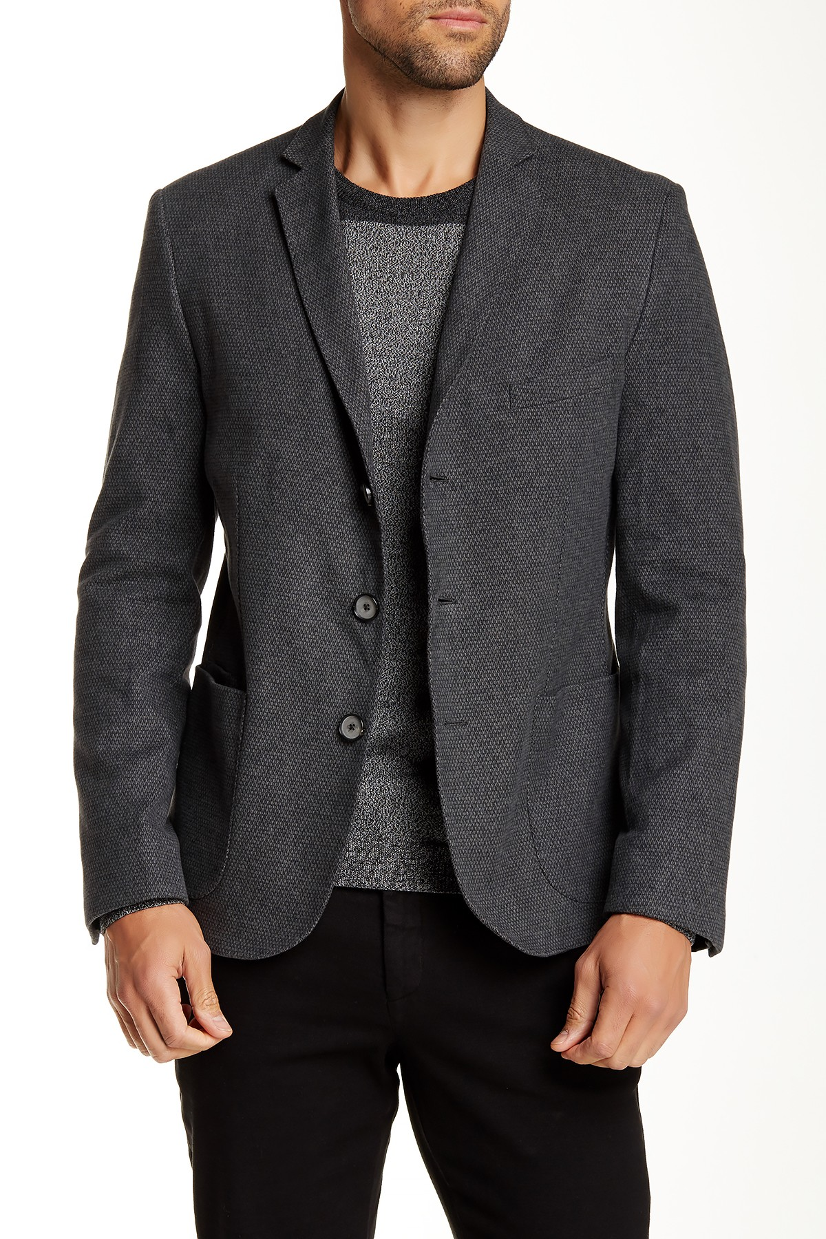 Jagvi Notch Lapel Three Button Blazer