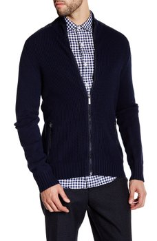 Kenneth Cole New York - Ribbed Knit Full Zip Contrast Trim Sweater