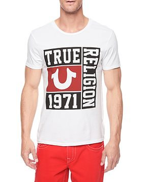 True Religion hand picked varsity mens t-shirt