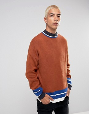 ASOS Longline Color Blocked Sweater With Sport Detail