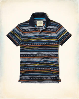 Patterned Tipped Pique Polo