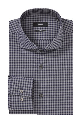 Hugo Boss Jaser' | Slim Fit, Italian Cotton Gingham Dress Shirt , Dark Blue