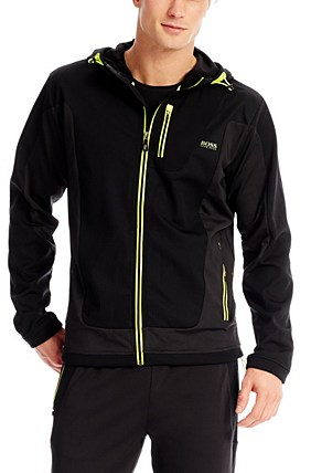 Hugo Boss Sorajos' | Stretch Hooded Jacket, Black