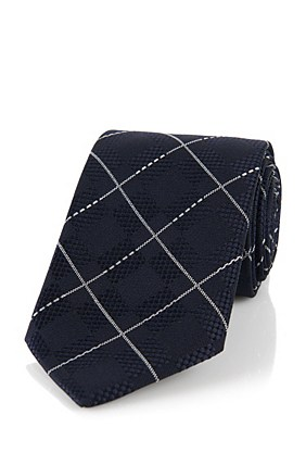 Hugo Boss T-Tie 7.5 cm' | Regular, Silk Diamond Patterned Tie, Dark Blue