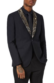 TOPMAN - Skinny Fit Tuxedo Jacket with Paisley Shawl Lapel