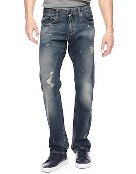 True Religion european ricky straight distressed mens jean
