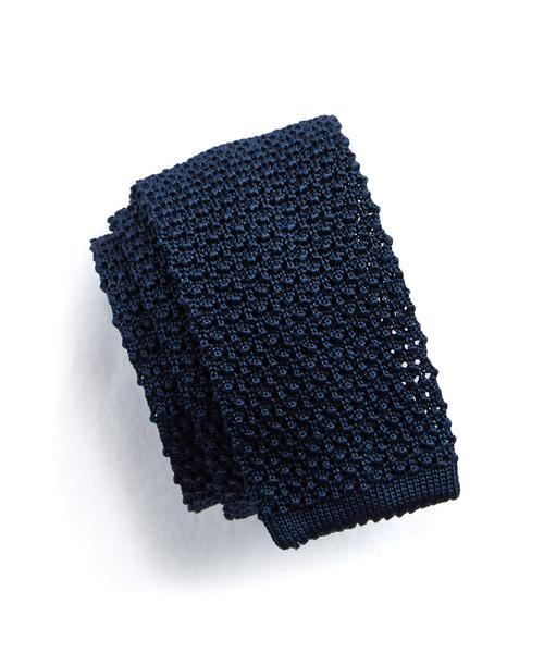 Classic Knit Silk Tie in Navy