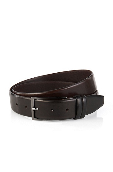 Hugo Boss Carmello' | Shiny Leather Belt, Dark Brown