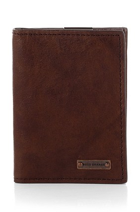 Hugo Boss Ruston' | Leather Card Holder with Detachable Money Clip , Brown