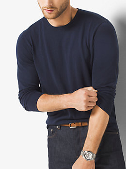 Silk and Cotton Crewneck Sweater  by Michael Kors