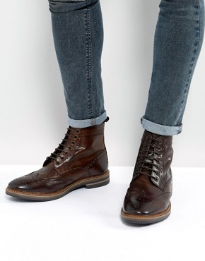 Base London Hurst Leather Brogue Boots In Brown