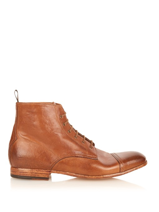 Matches Fashion Alexander McQueen Washed-leather lace-up boots