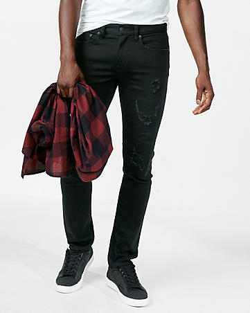 skinny black distressed stretch+ jeans