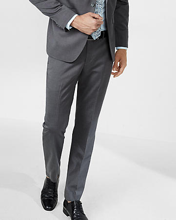 slim photographer dark gray oxford suit pant