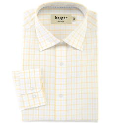 Double Windowpane Poplin Dress Shirt - Regular Fit, Point Collar - Haggar