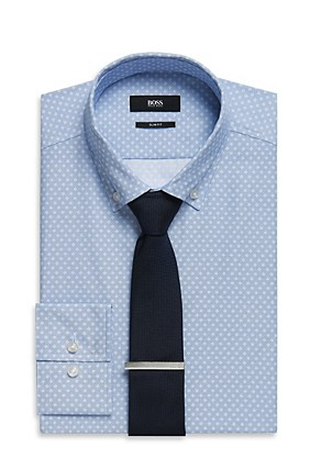 Hugo Boss Jans' | Slim Fit, Button Down Collar Cotton Patterned Dress Shirt , Blue