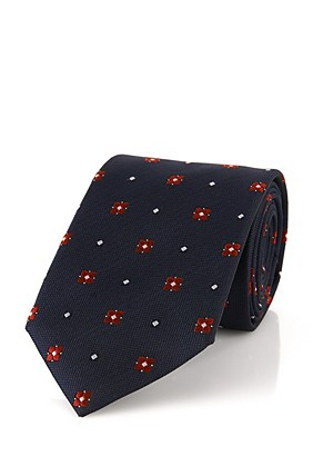 Hugo Boss Tie 7.5 cm' | Regular, Silk Striped Textured Tie, Red