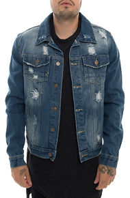 The Road Warrior Trucker Jacket in Vintage Blue