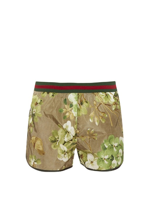 Matches Fashion Gucci Blooms-print swims shorts