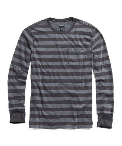 Long Sleeve Striped Pocket Tee in Charcoal