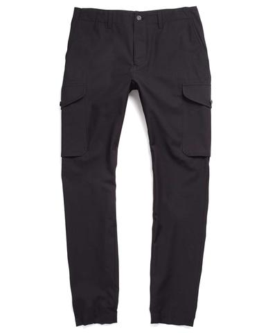 Slim Wool/Cotton Cargo Pant in Black