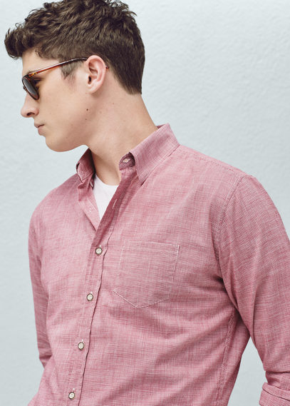 MANGO Slim-fit textured cotton shirt